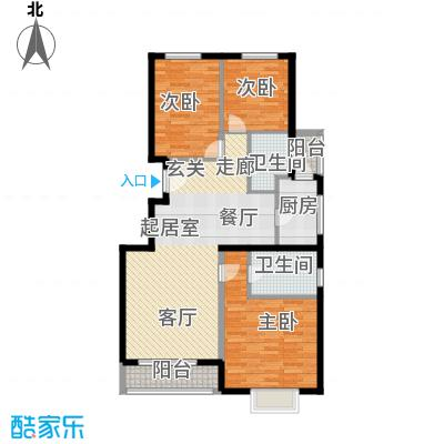紫金新干线129.82㎡C1三室两厅两卫户型