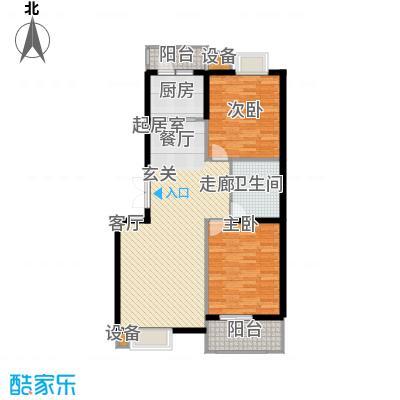 观山亲庭108.00㎡A户型二室二厅二卫户型