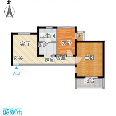 资尚财富公寓(龙城花园三期)65.64㎡二室一厅一卫户型
