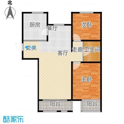 金海城90.72㎡D户型 二室二厅一卫户型2室2厅1卫