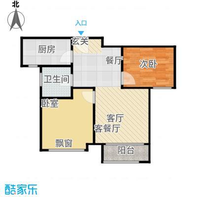 鸿坤・原乡小镇75.00㎡C户型 两室两厅一卫户型2室2厅1卫