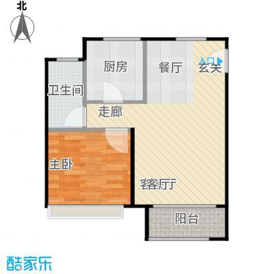 鸿坤・原乡小镇67.00㎡L户型 一室二厅一卫户型1室2厅1卫