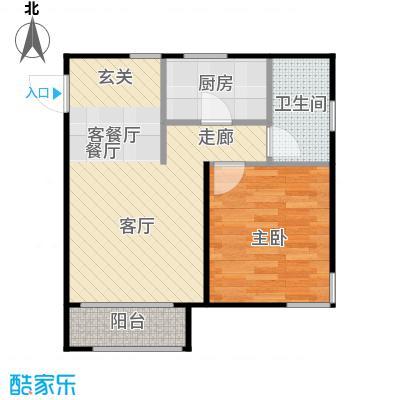 鸿坤・原乡小镇J户型 一室二厅一卫户型1室2厅1卫