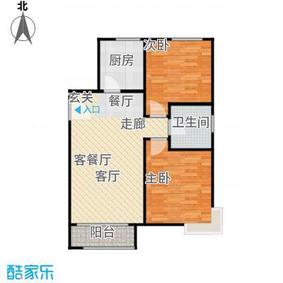 鸿坤・原乡小镇86.00㎡F户型 两室两厅一卫户型2室2厅1卫
