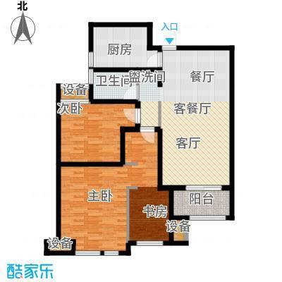 绿地外滩1号101.61㎡A-1D-1两房两厅一卫户型2室2厅1卫