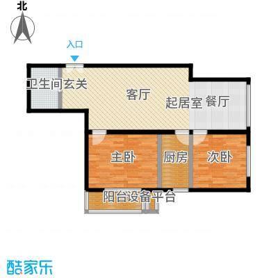 东杉国际92.78㎡14两室两厅一卫户型