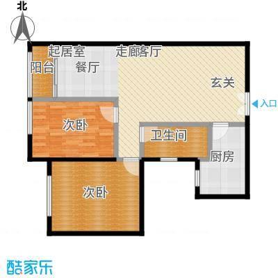东杉国际97.09㎡02两室两厅一卫户型