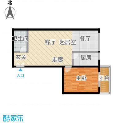 东杉国际82.15㎡16一室两厅一卫户型