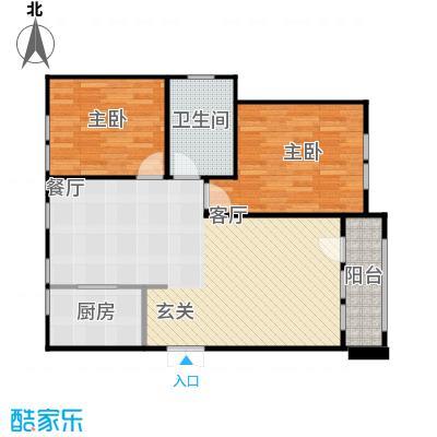 京都商务主题公园花园小区103.73㎡E户型二室二厅一卫户型