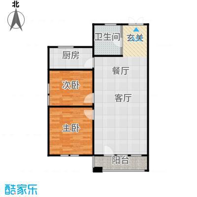 京都商务主题公园花园小区119.47㎡G户型二室二厅一卫户型