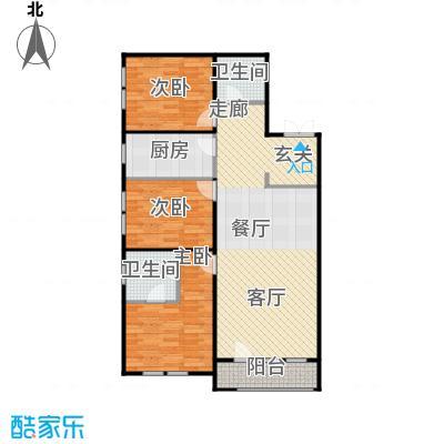 京都商务主题公园花园小区128.95㎡C户型三室二厅二卫户型