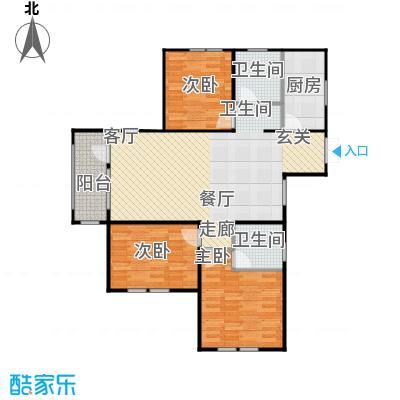 京都商务主题公园花园小区141.92㎡I户型三室二厅二卫户型