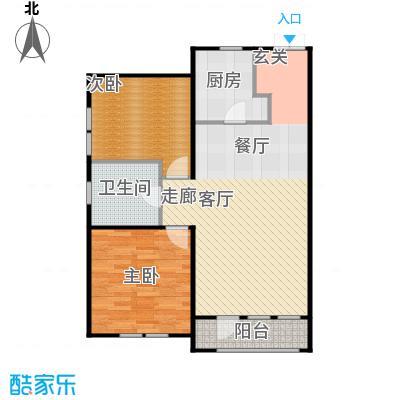 京都商务主题公园花园小区103.55㎡D户型二室二厅一卫户型
