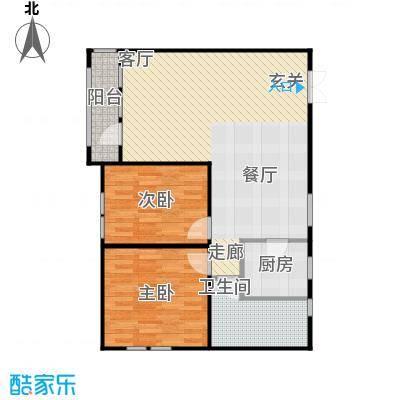京都商务主题公园花园小区106.85㎡F户型二室二厅一卫户型