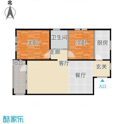 京都商务主题公园花园小区110.76㎡B户型二室二厅一卫户型