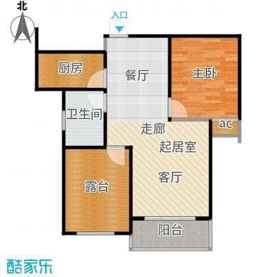 公园世家・观山樾68.27㎡C2户型 一室两厅一卫户型1室2厅1卫