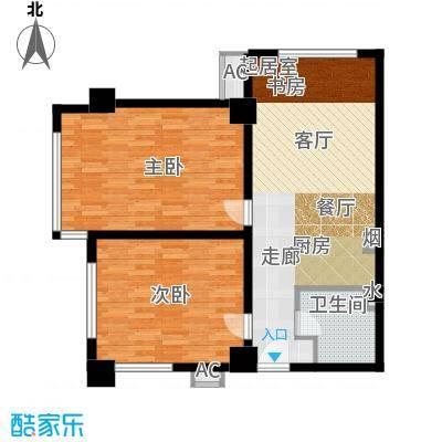 半岛四季F2户型两室一厅一卫户型