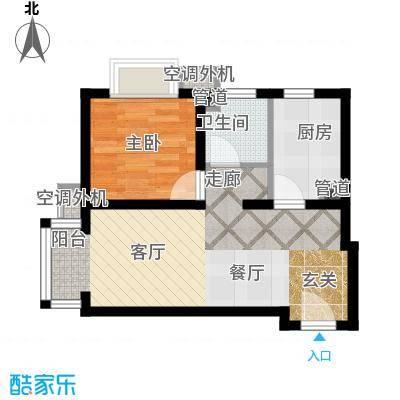 富地广场58.00㎡B1户型 一室两厅一卫户型1室2厅1卫