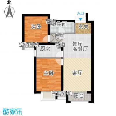 富地广场85.00㎡F2户型 两室两厅一卫户型2室2厅1卫