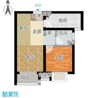 富地广场56.00㎡B3户型 一室两厅一卫户型1室2厅1卫