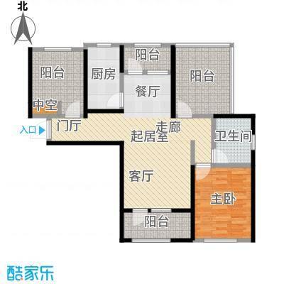 大运河孔雀城92.00㎡A4户型 二室二厅一卫 带花园及露台户型2室2厅1卫
