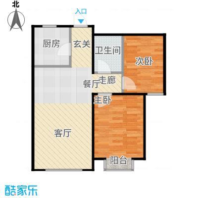 金海城85.76㎡B'反户型 二室二厅一卫户型2室2厅1卫