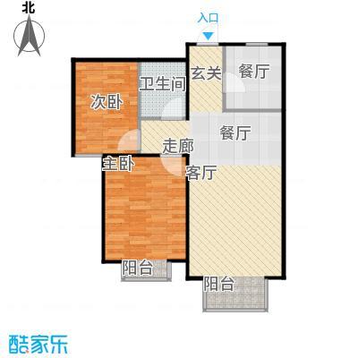 金海城89.13㎡B户型 二室二厅一卫户型2室2厅1卫