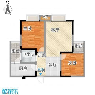兴苑御景名城B型两室两厅一卫户型LL