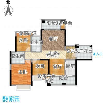 建曙高尔夫1号108.00㎡B-2(2+1户型)3房2厅2卫1入户花园户型