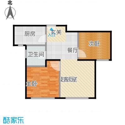鸿坤・原乡小镇68.00㎡K户型 两室两厅一卫户型2室2厅1卫
