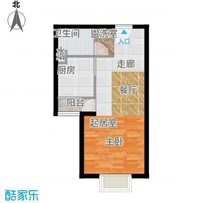 博雅德园51.74㎡一室一厅一卫户型
