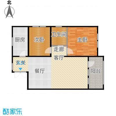 京都商务主题公园花园小区119.90㎡H户型二室二厅一卫户型