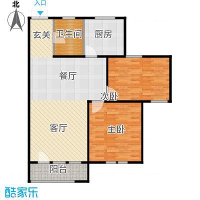 京都商务主题公园花园小区105.68㎡A户型二室二厅一卫户型
