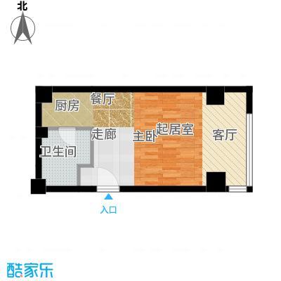 半岛四季d1户型一室一厅一卫户型