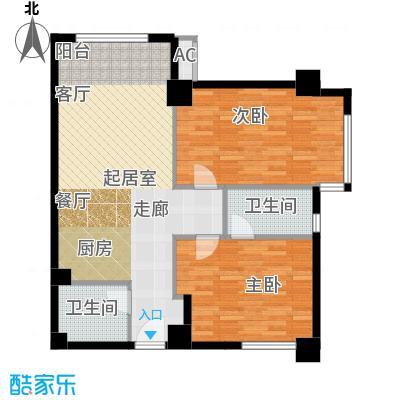 半岛四季f1户型两室两厅两卫户型