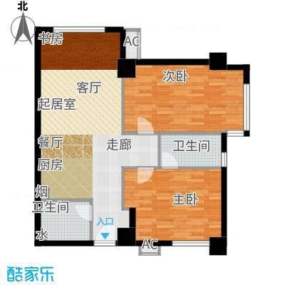 半岛四季F1户型两室一厅两卫户型