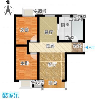 富地广场85.00㎡F1户型 两室两厅一卫户型2室2厅1卫