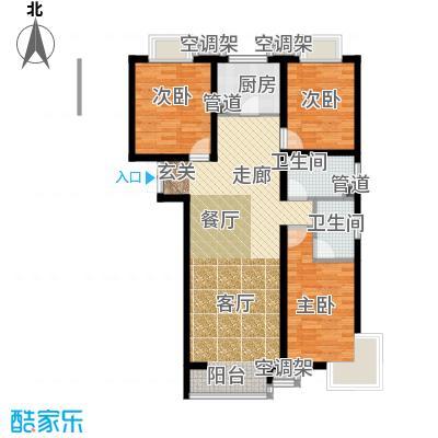 富地广场B4户型 三室两厅两卫户型3室2厅2卫