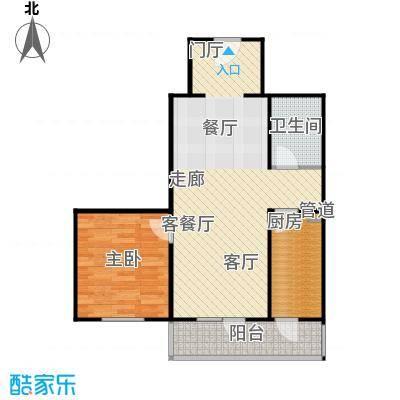 悦园(悦莱苑)68.03㎡2期2-C户型一室二厅一卫户型
