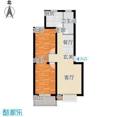 阳光水岸90.00㎡两室两厅一卫户型