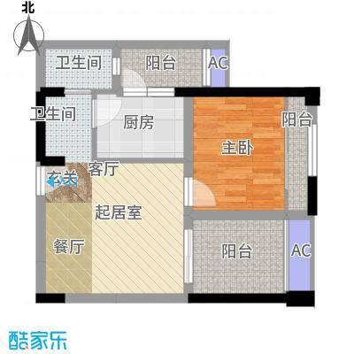 金科蚂蚁SOHO二代一房二厅一卫+景观阳台,使用面积约43.95平米户型