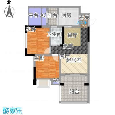 金科蚂蚁SOHO二代二房二厅一卫+景观阳台,使用面积约74.81平米户型