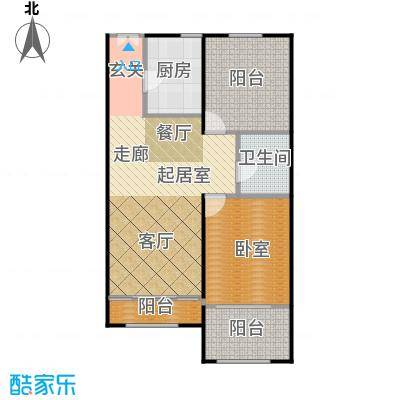 北京城建・红木林77.00㎡B3户型1室2厅1卫