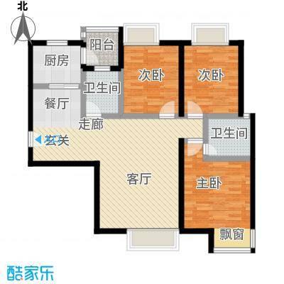 盛华香港城112.30㎡3A户型3室2厅2卫