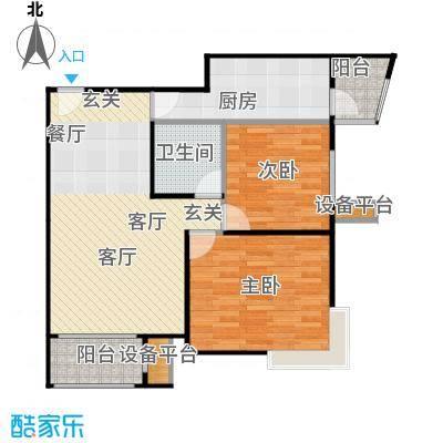 大城小镇B2户型二室二厅一厨一卫户型