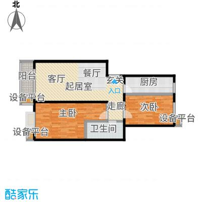 天恒嘉俪家园85.96㎡A户型二室二厅一卫户型