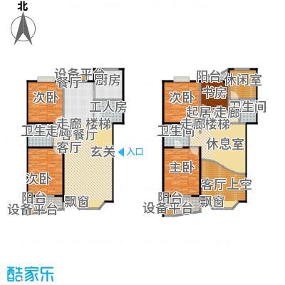 美然绿色家园240.94㎡2号楼跃层六室三厅三卫户型