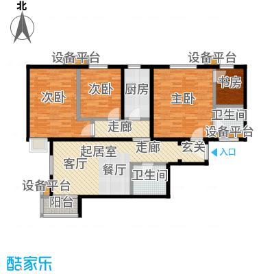天恒嘉俪家园104.74㎡D户型三室二厅二卫户型