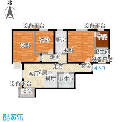 天恒嘉俪家园D户型3室2厅2卫1厨,建面104.74平米,套内94.54平米户型