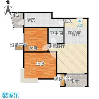 大城小镇B2'户型二室二厅一厨一卫户型